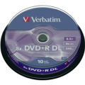 Verbatim 43666 8.5GB 8x Double Layer DVD+R Matt Silver - 10 Pack Spindle